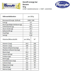 Xenofit Energy Bar Box 18x50g, Banana